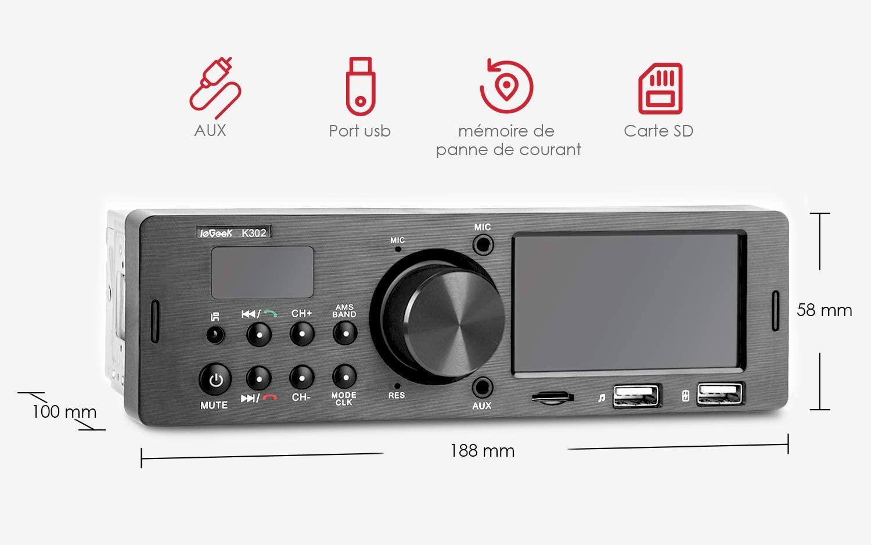 ieGeek autoradio Bluetooth main libre